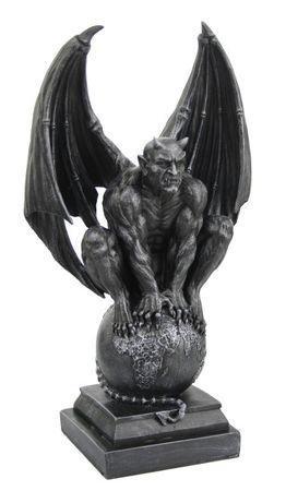 Dämon sitzt auf Weltkugel gothic 31 cm Figur
