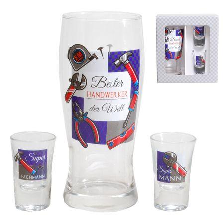 """3 tlg. Gläser-Set """" Handwerker """" im Geschenkkarton Glas Geschenk"""