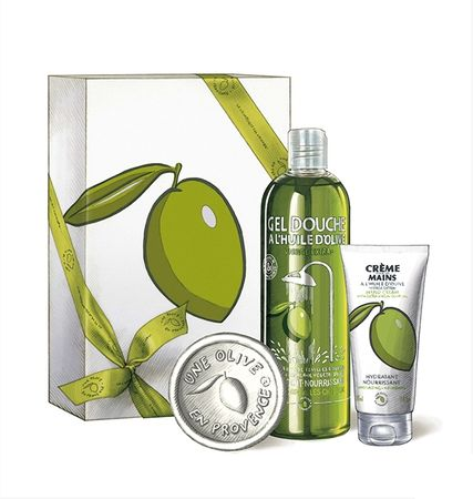 Une Olive en Provence Geschenkset Beruguette Duschgel Handcreme weißw Seife Olivenöl