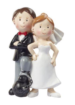 Hochzeitspaar mit Fussfessel Hochzeit Figur Deko Brautpaar 9 cm