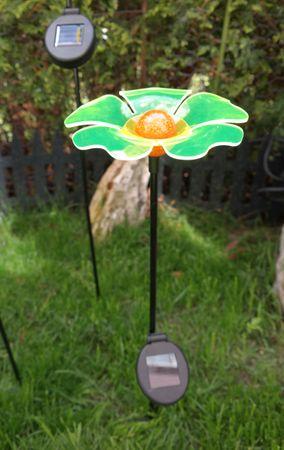 Gartenstecker Solar Mohn Blume gelb Acryl Figur Garten