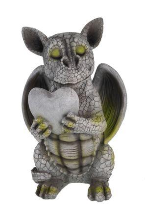 Drachenkind verliebt mit Herz Drache Figur Gartenfigur Liebe – Bild 1