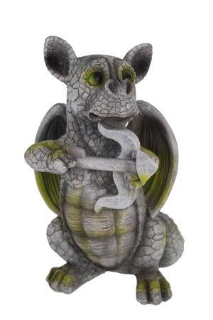 Drachenkind Armor mit Pfeil und Bogen Drache Figur Gartenfigur Liebe – Bild 1