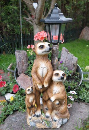 Erdmännchen Familie mit Solarlaterne Figur Gartenfigur 51 cm Garten Erdmännchenfamilie – Bild 2