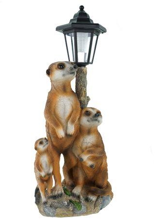 Erdmännchen Familie mit Solarlaterne Figur Gartenfigur 51 cm Garten Erdmännchenfamilie