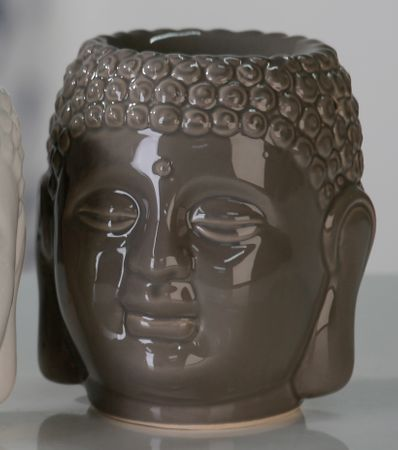 Aromabrenner Buddh Keramik grau Duftlampe Aromalampe Teelicht Buddhakopf