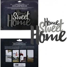 schriftzug home sweet home grau holz zum h ngen deko wandtattoo ebay. Black Bedroom Furniture Sets. Home Design Ideas