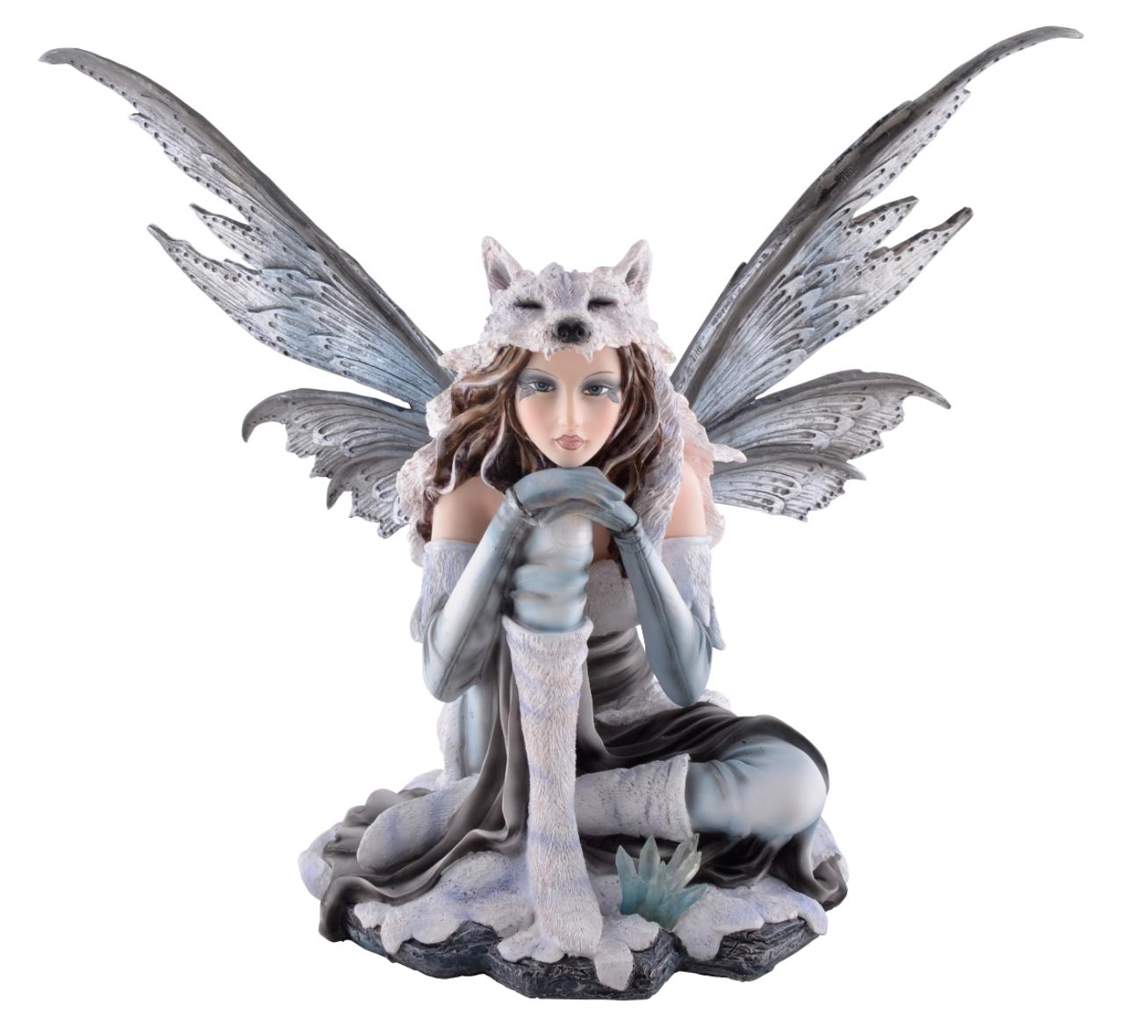 wolfsfee lupa sitzt im schnee figur fee elfe fairy feenfigur feenfiguren winter ebay. Black Bedroom Furniture Sets. Home Design Ideas