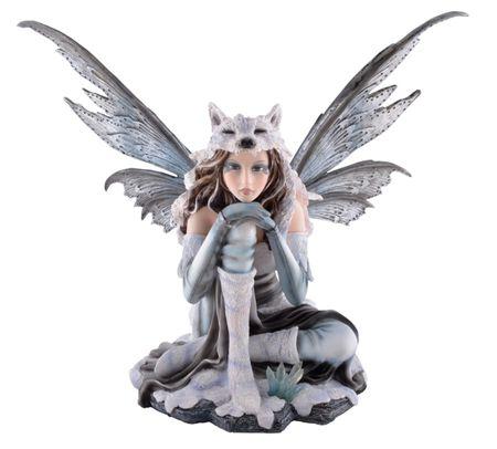 Wolfsfee Lupa sitzt im Schnee Figur Fee Elfe Fairy Feenfigur Feenfiguren Winter Wölfe – Bild 1