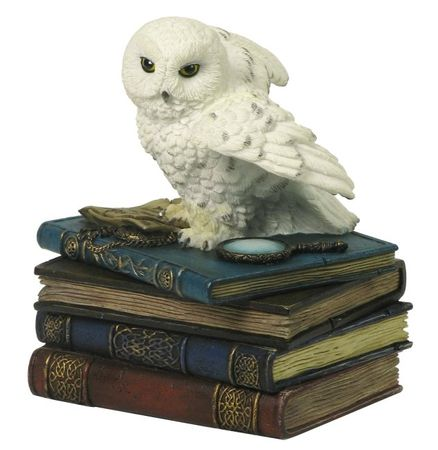 Schneeeule sitzt auf Büchern als Schmuckbox Figur Uhu Eule Buch