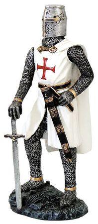 Tempelritter mit Schwert Figur Templer Ritter Deko Skulptur