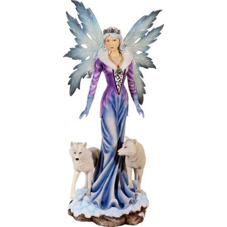 Edle XXL Elfe mit zwei Wölfen Figur Fee Elfe Fairy Feenfigur Feenfiguren Wölfe