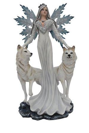 Große Winterfee Cristallupa mit 2 weissen Wölfen Fee Fairy Elfe Figur Skulptur