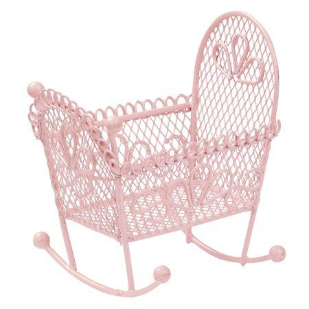 Mini Deko Wiege rosa Mädchen Party Geburtstag Geburt Baby Puppenhaus