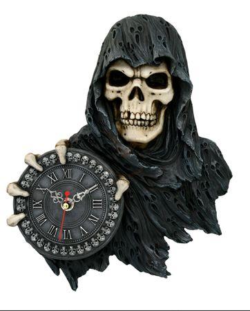 Wanduhr Sensenmann hält Uhr Time Flies Uhr Reaper Gothic Tod