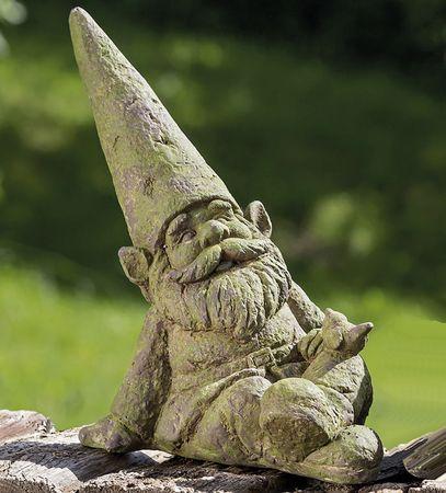 Gartenfigur Gartenzwerg mit Vogel 35 cm Zwerg Figur