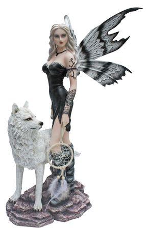 Große schwarze Fee Aislin mit Wolf und Traumfänger Fairy Elfe Figur Skulptur – Bild 1