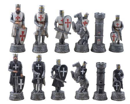Hochwertiges Schachfiguren Set Kreuzritter weiß schwarz Schach Schachspiel