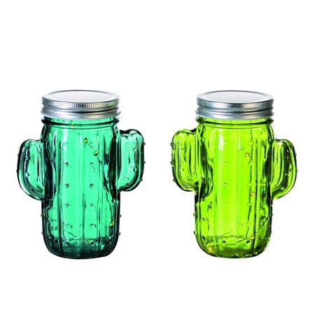 2er Set Dekoleuchte Kaktus Glas grün mit 5 LED's und Timer für Batterien