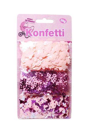 Konfetti Baby Mädchen 3-tlg. sortiert Kunststoff zur Geburt Babyparty Taufe rosa pink