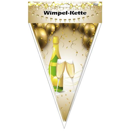 Wimpel Girlande Champagner 10 m  Partydekoration Silvester Party Feier