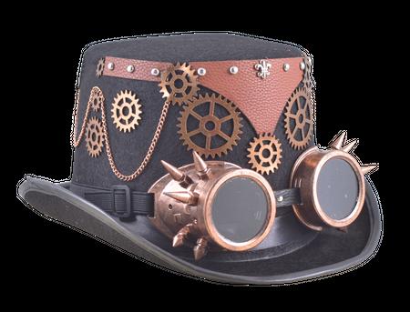 Steampunkmaske Filzylinder Schweisserbriller Maske Karneval Kostüm Retro