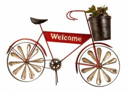 Metall Fahrrad mit Pflanztopf 53cm Blumentopf Garten Figur  Planzkübel Wilkommenschild