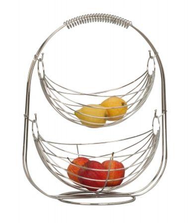 Obst Schaukel stehend mit 2 Körben verchromt Metall Obstschale