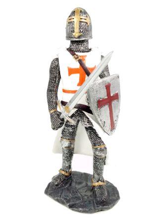 Kreuzritter in Rüstung mit Schwert Ritter Templer Kreuz Deko Skulptur