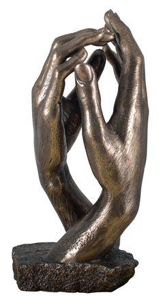 """Veronese Figur """" Die Kathetrale """" Auguste Rodin 1908 Replik Statue Skulptur bronziert Hände"""