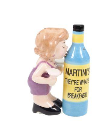Salz und Pfefferstreuer Set Martini Frau mit Flasche
