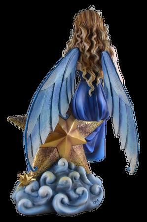 Große Fee Starina sitzt auf goldenem Stern Figur Skulptur Engel Star Feen Fairy – Bild 2