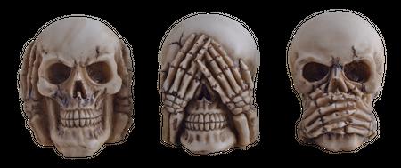 3er Set Totenschädel Nichts hören sehen sagen Totenkopf Schädel Figur
