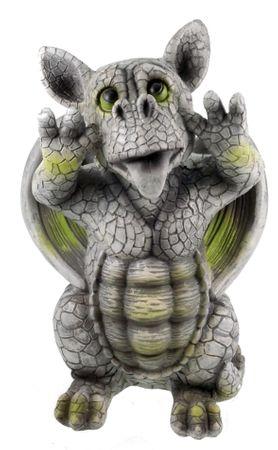 Freches Drachenkind schneidet Grimasse 27 cm Drache Figur Gartenfigur Gargoyle Skulptur
