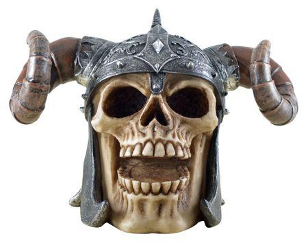 Vogler 816-4257 Totenschädel mit Teufelshelm 17cm Totenkopf Schädel Figur
