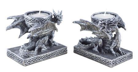 Vogler 837-7069 2er Set Teelichthalter Drache Teelicht Dragon Figur figurine