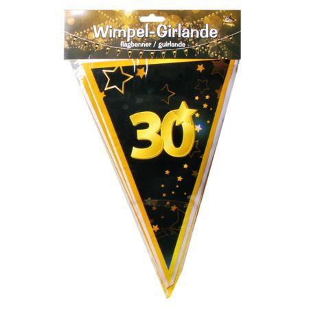 Udo Schmidt GmbH & Co 10 Meter Wimpel Girlande 30 Jahre Schwarz Gold Geburtstag Party Dekoration Deko