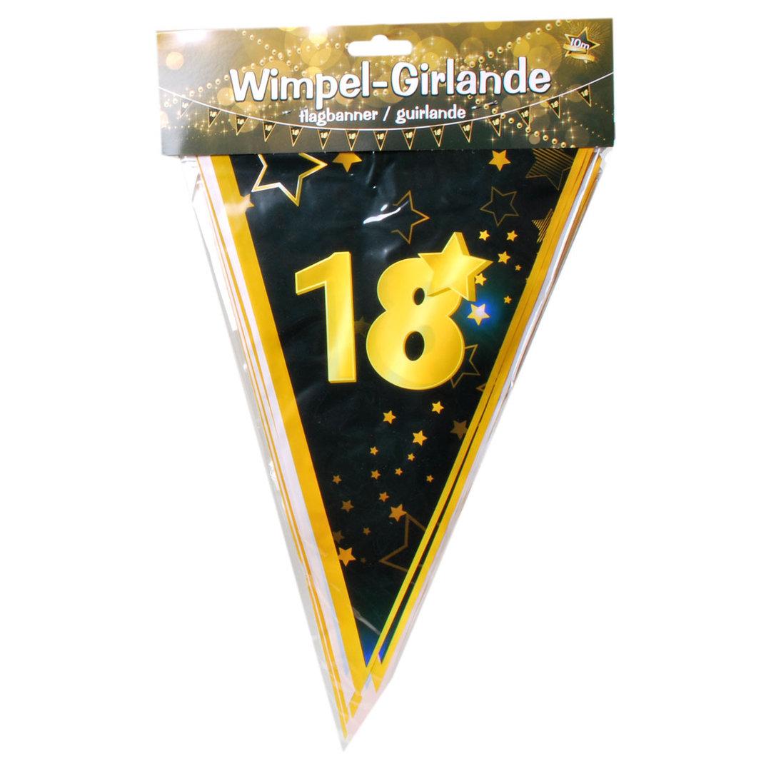10 Meter Wimpel Girlande 18 Jahre Schwarz Gold Geburtstag Party Deko 0 60 1m Ebay