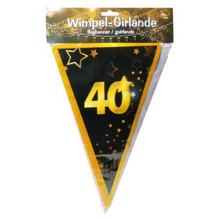 Udo Schmidt GmbH & Co 10 Meter Wimpel Girlande 40 Jahre Schwarz Gold Geburtstag Party Dekoration Deko