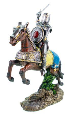 Deutscher Ritter auf Pferd mit erhobenem Schwert 20 cm Deko Skulptur Burg