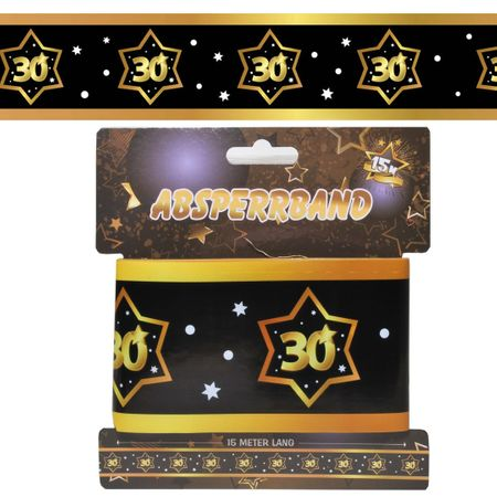 Udo Schmidt GmbH & Co 15 Meter Absperrband 30 Jahre Schwarz Gold Geburtstag Party Dekoration Deko