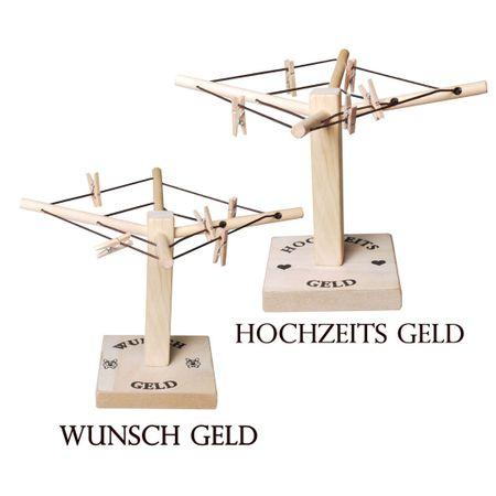 Geld Wäschespinne Hochzeits - Geld & Wunsch - Geld Hochzeit Geldgeschenk Holz verschenken – Bild 2