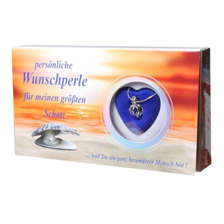 Zauberhafte Wunschperle für deinen Schatz mit Halskette im Geschenkkarton Perle Schmuck Kette