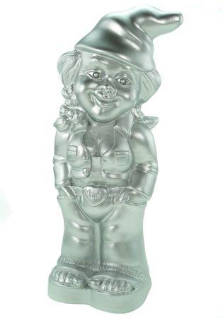 Gartenzwerg Zwergenfrau Mandy Silber Edition 34 cm PVC Zwerg Garten Zwerg Figur