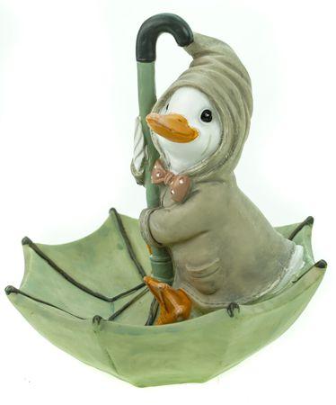 Wetter Ente auf Regenschirm pastellgrün 19cm Garten Tier Figur