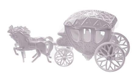 Hochzeit Mini Kutsche weiß zum Öffnen und Befüllen Geldgeschenk Figur Feier