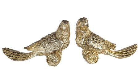 Casablanca 2er Set Figur Papagei gold mit Glitter Tierfigur Vogel Kakadu Ara