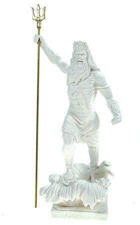 Alabaster Figur Poseidon mit Dreizack Gott des Meeres 22 cm weiß Glück Meer