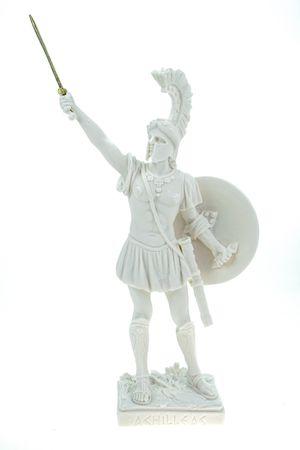 Alabaster Figur Achilles 25 cm Skulptur Feldherr Krieger weiß Troja Peleus