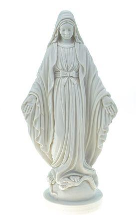 Alabaster Deko Figur Jungfrau Maria 17 cm Skulptur weiß Mutter Jesu Glaube Kreuz